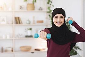Indoor Sport Concept. Positive Arabic Wo