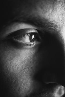Black and White Portrait Close Up