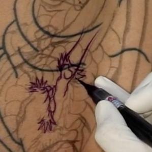 Horiyasu 彫やす Kumonryu Freehand drawing フリーハンドの下絵