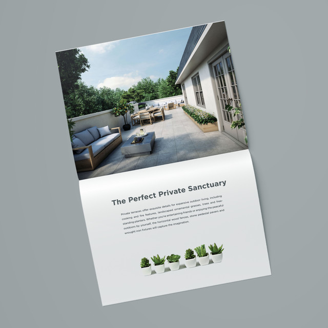 Designed for a new development, this brochure embodies the sleek sophistication and modern simplicity of its luxury condominiums.  Designed while at CT Marketing.