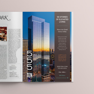 Showcasing this56-story rental building in New York Magazine, the abovead won the Silver Award for Best Print Ad by The Nationals, America's largest, most prestigious competitionin real estate marketing.  Designed while at CT Marketing.