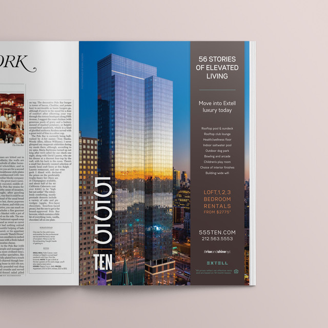 Showcasing this 56-story rental building in New York Magazine, the above ad won the Silver Award for Best Print Ad by The Nationals, America's largest, most prestigious competition in real estate marketing.   Designed while at CT Marketing.