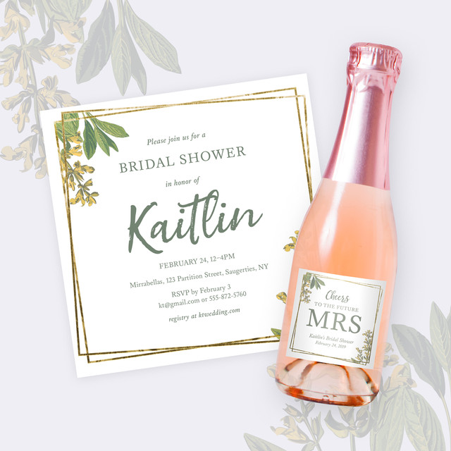 Bridal shower invitations, champagne labels, thank you notes and signage designed to match the wedding's aesthetic and colors.