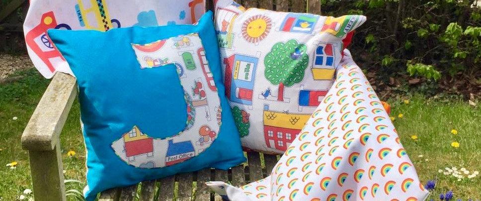 Handmade Litte Bird Custom Initial Cushions Rainbow Retro Children Nursery Bedroom Decoration