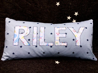 Dotty Daisies Patterned custom pesonalised children's name cushion