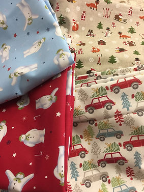 Christmas fabrics that Dotty Daisies will be using for Xmas 2018