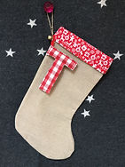 Christmas gift stockings in hessian or burlap can be personalised