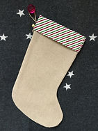 Dotty Daisies Christmas gift stockings in hessian or burlap can be personalised