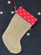 Christmas stockings, gift stockings in hessin or burlap