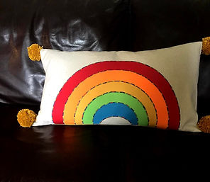 Rainbow Pom Pom Cushion Lounge Living Decoration Colourful Cozy Comfy Handmade