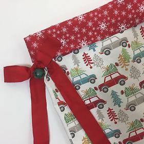Dotty Daisies Christmas Car Gift sack, santa sack with ribbon and bell