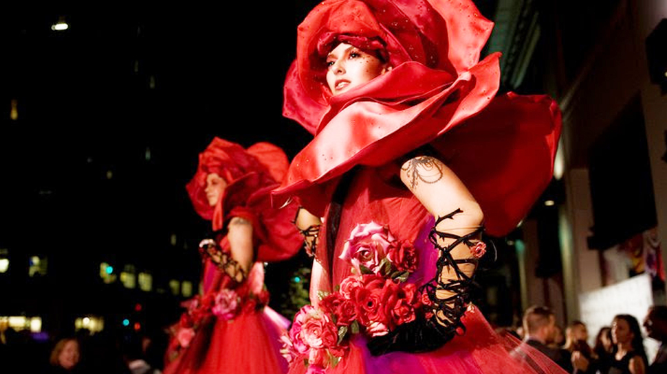 Giant Rose Stilt walkers
