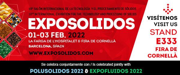 Comatec Solids S.L, participará nuevamente en Exposolidos, Salón de la Tecnología y el Procesamiento de Sólidos, Barcelona. Del 1 al 3 de febrero.