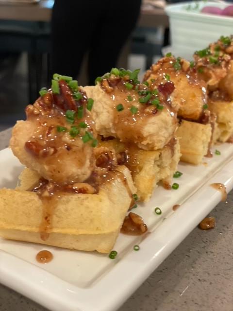 chicken & waffles pecan honey butter