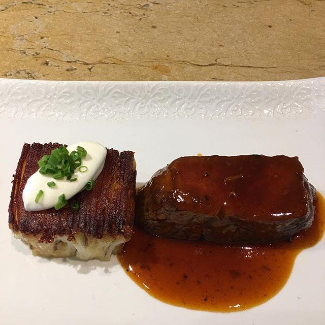 glazed beef filet . potato pave