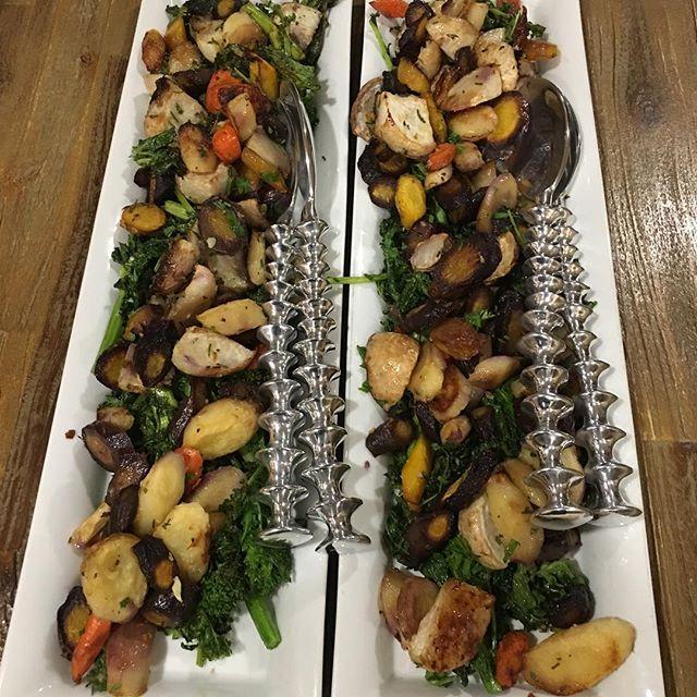 Roasted root vegetables & rapini 😋#fall