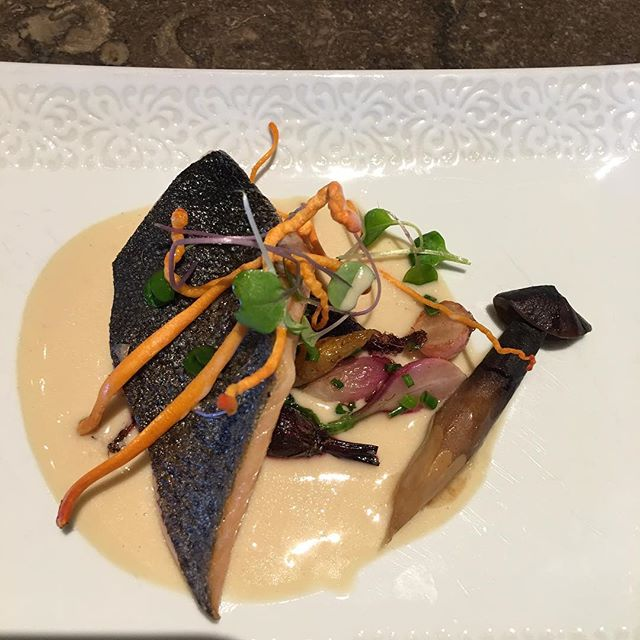 Seared Red Trout  golden thread & chestn
