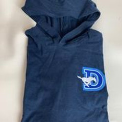 Kids Navy Hooded Long Sleeve D Logo Light Weight Hoodie