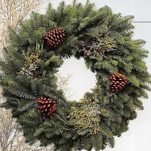 "Fresh Nobel Fir w. Incense Cedar, BlueBerried Juniper & Ponderosa Pine Cones 28"""