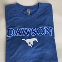 Women's Fitted Blue Dawson Mustangs T-Shirt