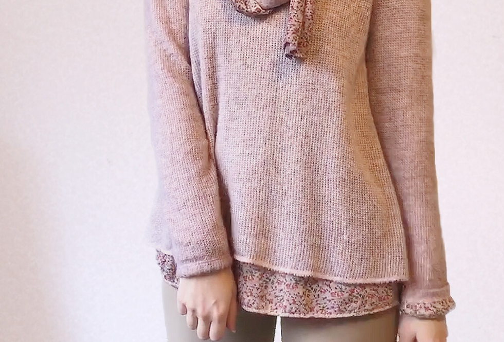 Pull Maille Rose andromede (écharpe)