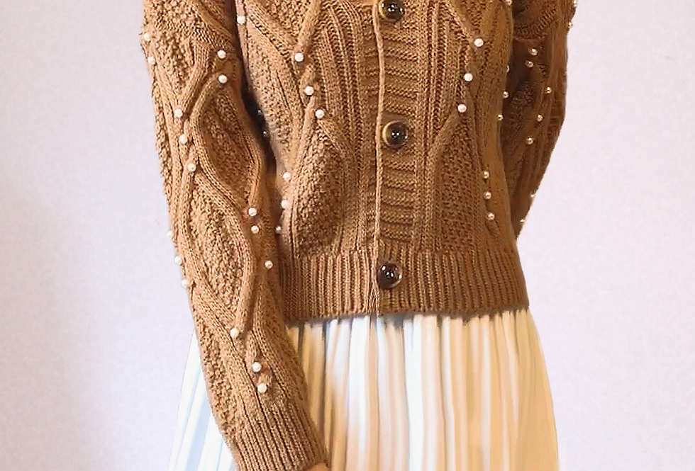 Gilet Taupe perles
