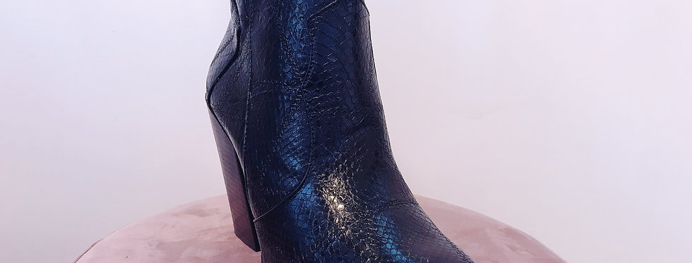 Bottines pointues effet serpent