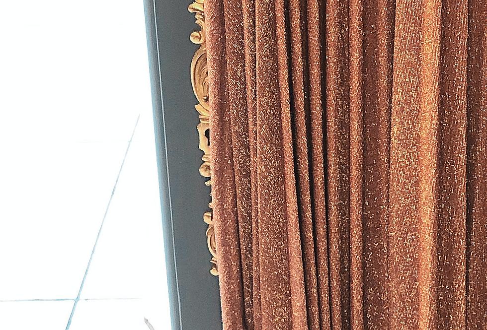 Jupe plissée pailletée Rouille