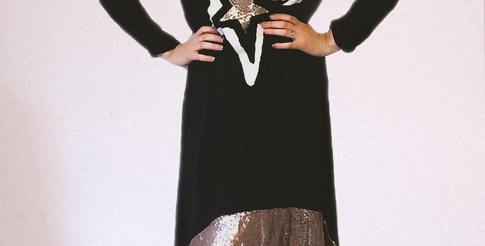 Robe Longue Noire à Sequins