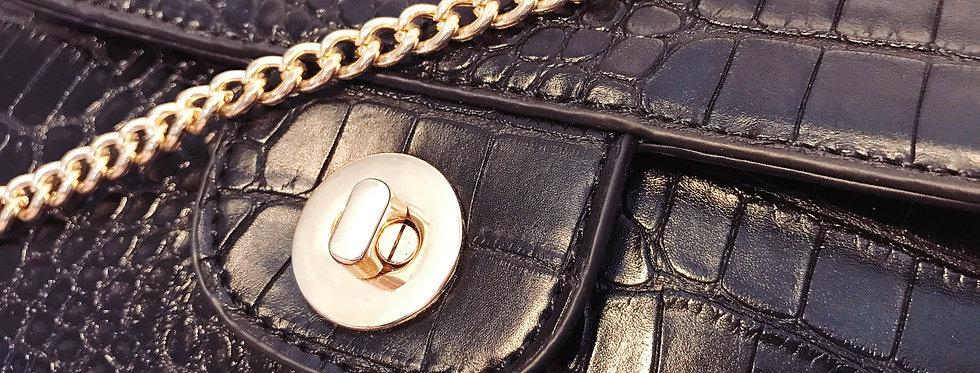 Sac Croco Rectangle noir chaine or
