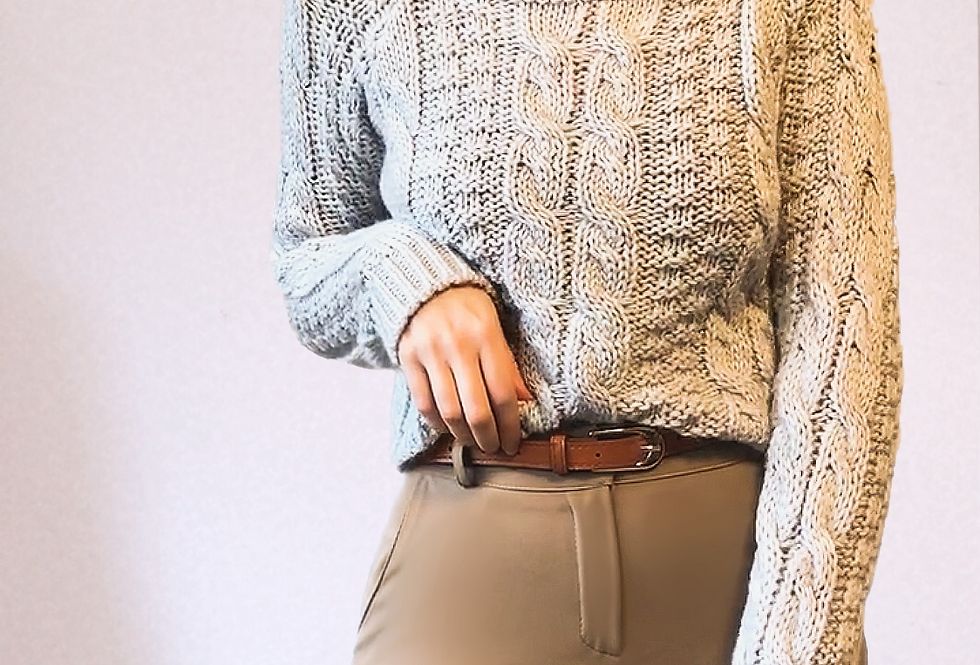 Pull Grosse maille et Col Beige