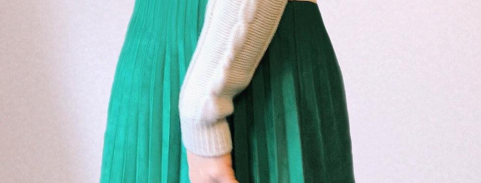 Jupe Longue Vert Sapin aspect daim