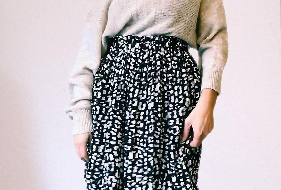 Jupe Mi-Longue Kaia motif léopard Noir et blanc