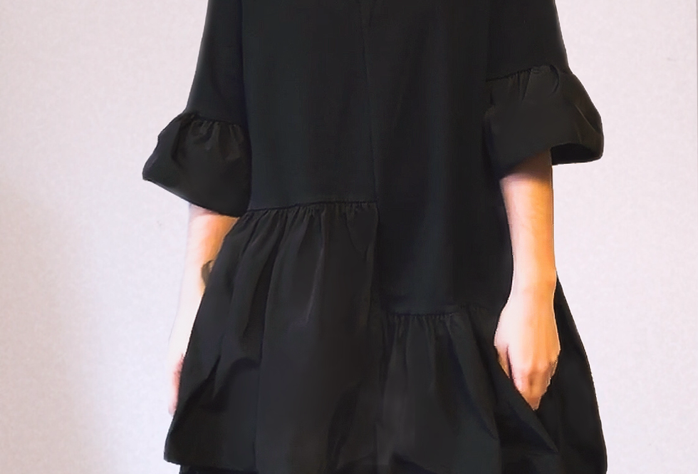 Robe à Volants Noire Carla Giannini
