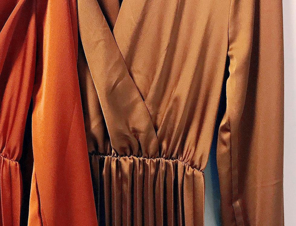 Robe Mi- longue Satinée Brune