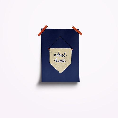 Postkarten | Schulkind blau