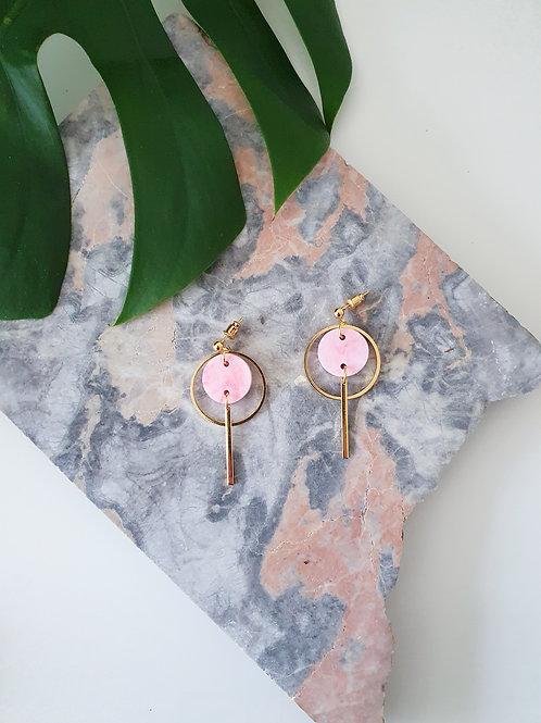 Ohrschmuck Mini Halo | pink & cherry marble
