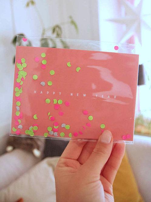 "Postkarte   Konfetti ""Happy New Year"""