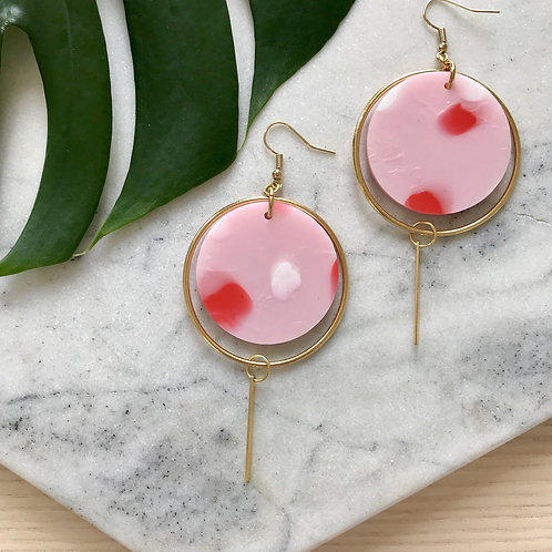 Ohrschmuck Halo | pink with red spot
