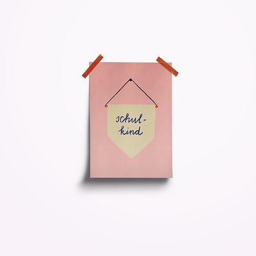 Postkarten | Schulkind rosa