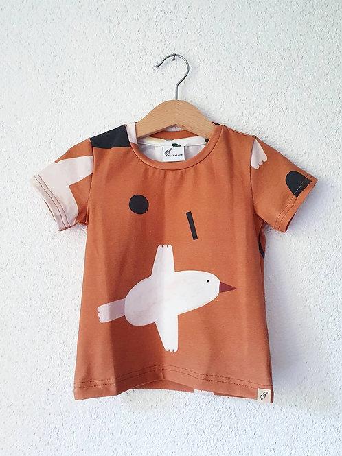 T-Shirt | Vögel hellbraun
