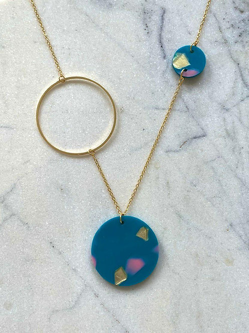Necklace Constellation | Teal with Pink & Gold Spot
