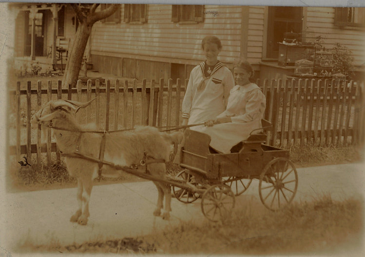 A sepia-toned historical photograph taken around 1894. The image shows a young Henrietta Kiel (in her early teens) seated in a small cart that is being pulled by a goat. They are stationary on a residential sidewalk, posing for the photograph. She is wearing a white dress typical of young girls in the 1800s. The goat has light-colored hair and is standing still. The goat is wearing a bridle and Henrietta is holding the reins and looking at the camera. Standing next to the cart is Fannie DeKiep, who is similar in age. She is wearing a white dress with a dark-colored sailor-style kerchief around the neckline. Both girls have their hair up and are looking at the camera. Behind them is a white picket fence and a yard with a house with light-colored wooden siding. On the front steps of the house is a collection of metal wire birdcages.