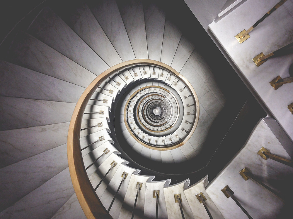 Spiral staircase ascending