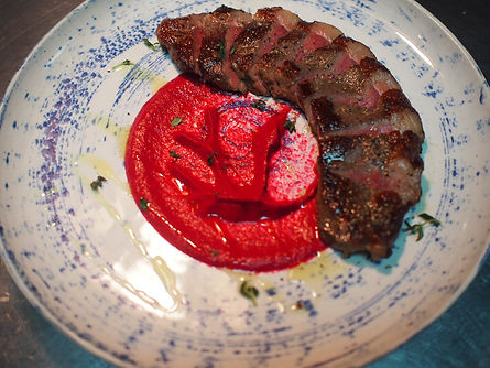 Steak with beetroot puree