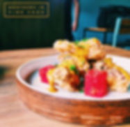 Soft shell crab, compressed watermelons