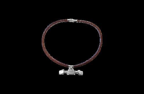 Girocollo sellino cuoio e argento 925 con ciondolo Tantocosì argento 925 L38
