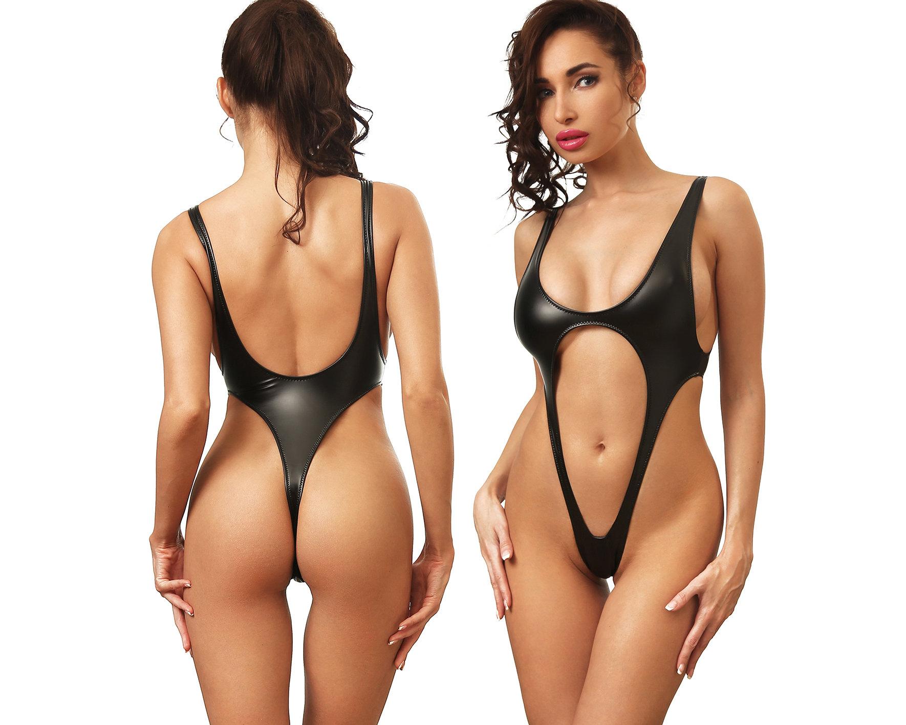 ea071c0e7f33 D10% Black hot one piece swimsuit extreme monokini High cut leg Thong Open  back   touch-secret-com