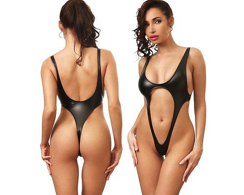 сплошной черный красивый модный сексуальный откровенный стильный закрытый слитный экстрим купальник монокини стринги 2018 год