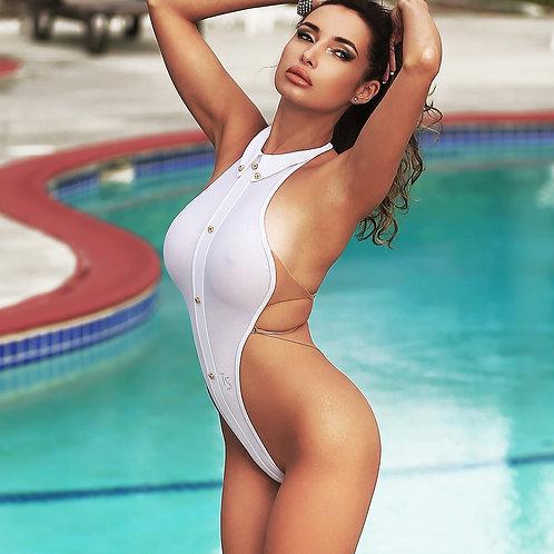 Sexy one piece swimsuit Bathing suit thong Monokini high neck bodysuit Cheeky womens swimwear Erotic wear Black Open back